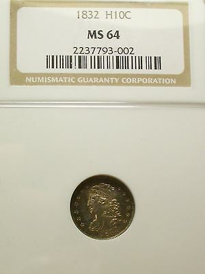 Nice 1832 Ms64 Capped Bust Half Dime Ngc - Toned