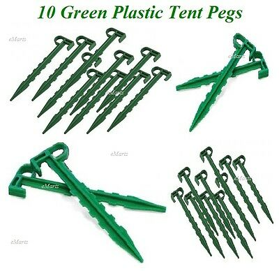"10x GREEN CAMPING TENT PEGS 5.5"" INCH 14CM DURABLE PLASTIC SPIKE TENT PEGS (NEW)"