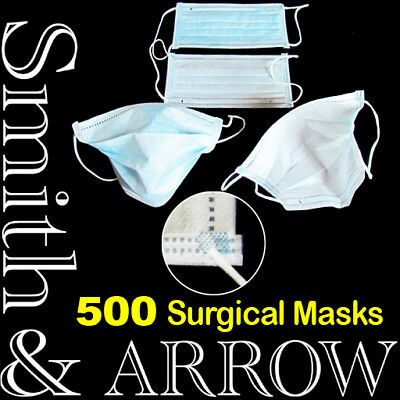 500 x DISPOSABLE FACE MASK SURGICAL EAR LOOP MEDICAL FLU DENTAL DUST DOCTOR NAIL