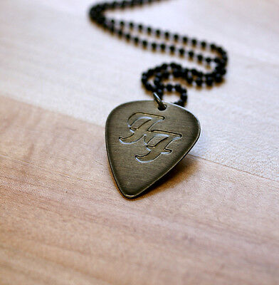 Hand Made Etched Guitar Pick Necklace - Foo Fighters - Black Chrome