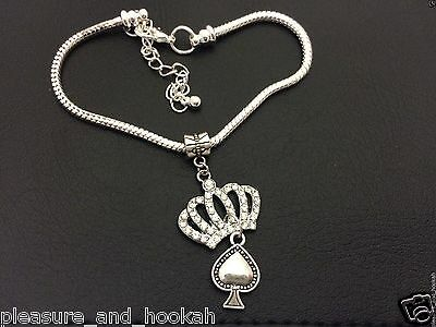 """""""Queen of Spades Anklet"""" Hotwife Swinger Lifestyle BBC Jewelry Fetish Cuckold 12"""