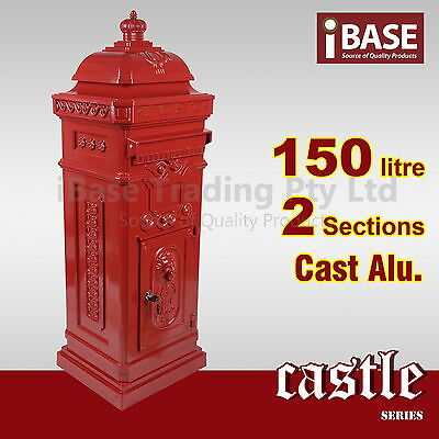 Tower Antique Vintage Mailbox Letterbox Letter Mail Post Aluminium Red Alu Stand