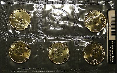 BU UNC Canada 2014 Olympics lucky loonie dollar mint sealed 5-coin pack