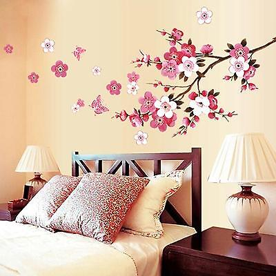 Peach Blossom Flower Butterfly Removable Wall Stickers Decal Art Decor Vinyl DIY