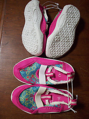 NEW Aqua Socks Water Beach Shoes TODDLER Girl S 5-6 Pink White PEACE SIGNS (5)
