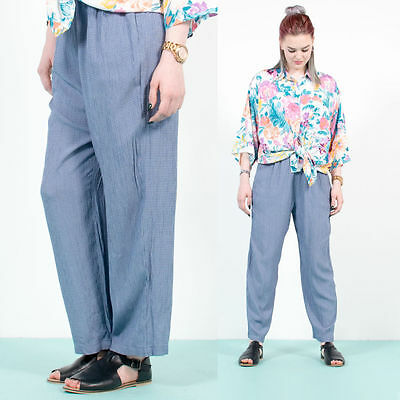 Womens Vintage 90's Blue Gingham Check Plaid High Waist Grunge Trousers 10