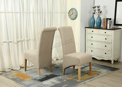 FoxHunter F01 Cream Linen Fabric Dining Chairs Scroll High Back Springed Seat X2