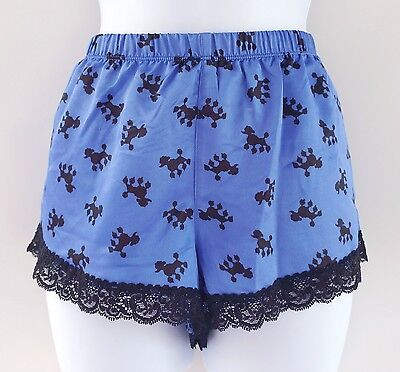 New! Material Girl Blue Poodle Satin Sleepwear Lace Tap Shorts Pants Women's