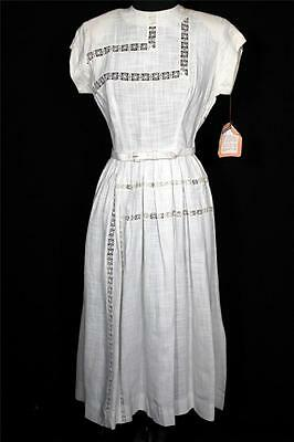 Rare Vintage Deadstock Never Worn 1950's White Rayon Linen Dress Size 6+