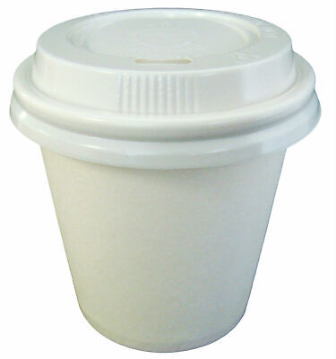 150 Sets 4oz White Single Wall Paper Coffee Cups And Lids 118ml Disposable