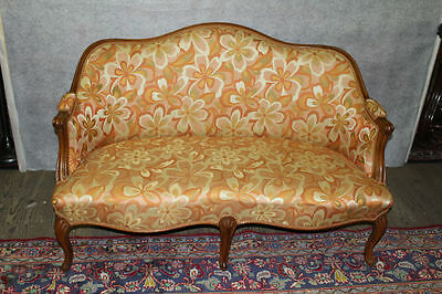 French Louis XV Walnut Loveseat Circa 1920's New Upholstery