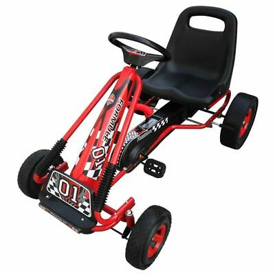 New Red Pedal Go-Kart Ride-On Car Kids & Junior Adjustable Seat Rubber Tires