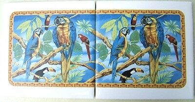 Ceramic Tile Mural With Parrot Blue Tropical Bird