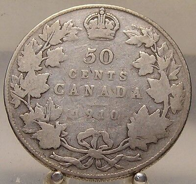 1910 Canada Silver 50 Cents, Old Sterling Silver Fifty Cent Coin
