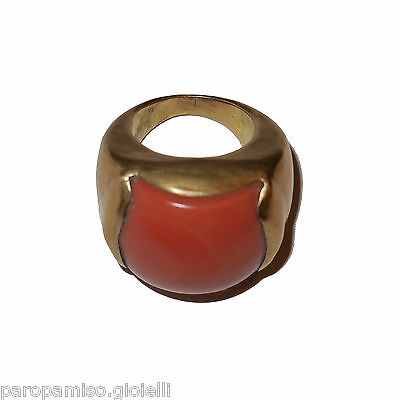 Rare Quality Coral from China-Tibet, Mounted in a 18k Gold Ring  (0744)
