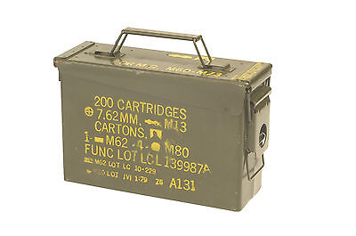 US Army Olive Small Metal Ammo Box Used Military Surplus