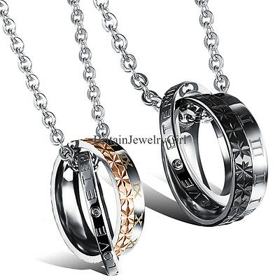 Roman Numeral Eternal Love Engraved Ring Pendant Stainless Steel Couple Necklace