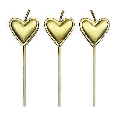 PME 8 Set GOLD HEARTS Candles Birthday Party Cake Decorating