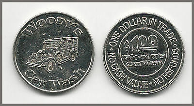 14. 1 (One) Woody's Car Wash Token White Metal / Old Panel Station Wagon