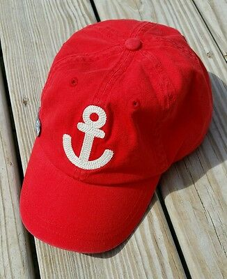 Crewcuts Red Nautical Sail On Anchor Hat Boys Girls Size L XL Factory New Kids