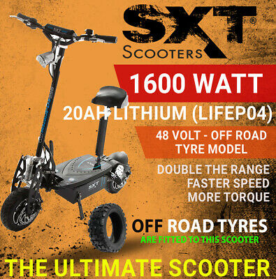 2017 SXT XL 48V 1600W 20ah LITHIUM TURBO ELECTRIC SCOOTER -BLACK OFF ROAD