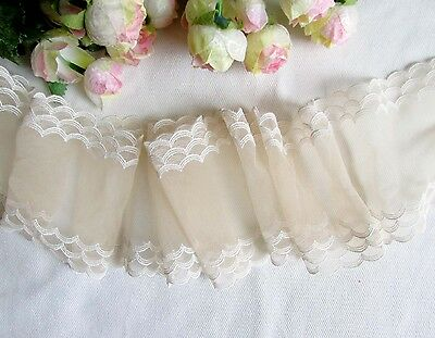 9.5 cm width Pretty Light  Apricot /White Wavy Edge Embroidery mesh Lace Trim