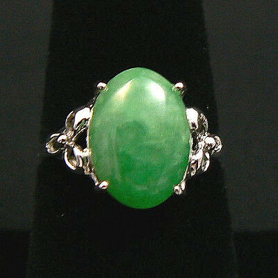 Beautiful Vintage 18k Chinese Grade A Green Jade & White Gold Ring Size 7.5-8