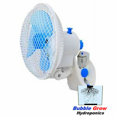 Clip Fan 180Mm 2 Speed Power Saver Oscillating Grow Tent Hydroponics Student Fan