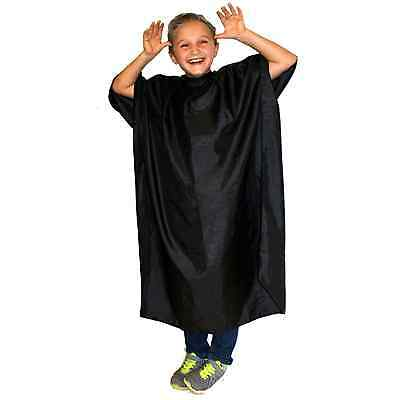 Hair Tools CHILDRENS BLACK Hair Dressing Gown. Water Repellent 132cm x 97cm