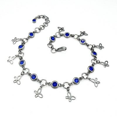 Sapphire Blue & Silver Tone Butterfly Charm Anklet - Stainless Steel & Glass