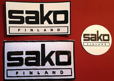 SAKO `FINLAND` (FIREARMS / GUNS)) 100mm X 55mm  EMBROIDERED PATCH +  STICKERS