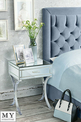 MY-Furniture Mirrored and Chrome Bedside Table - AURELIA