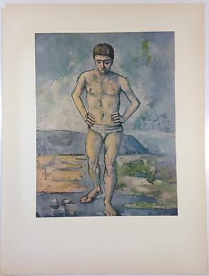 """1952 Vintage Full Color Art Plate """"THE BATHER"""" CEZANNE Lithograph Litho"""