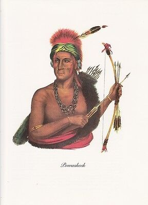 """1972 Vintage Full Color Art Plate /""""IOWA WARRIOR NO HEART/"""" NATIVE AM INDIAN Litho"""