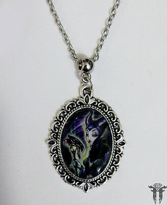 Classic Disney Villian Maleficent Sleeping Beauty Altered Art Pendant Necklace
