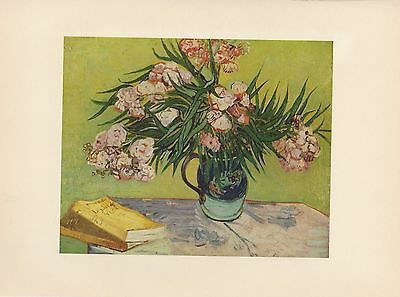 """1952 full Color Art Plate """" Oleanders """" by Van Gogh Lithograph Litho"""