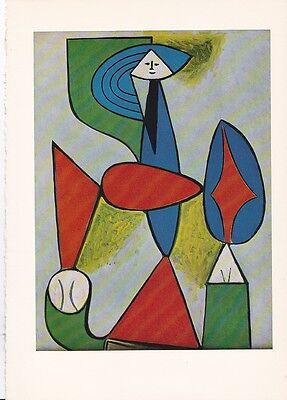 """1955 Vintage """"SEATED WOMAN"""" PABLO PICASSO Color Art Plate offset Lithograph"""