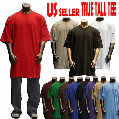 Big and Tall TEE Men Heavy Weight Plain S/S T-shirts Crew Neck Solid 8OZ Tall