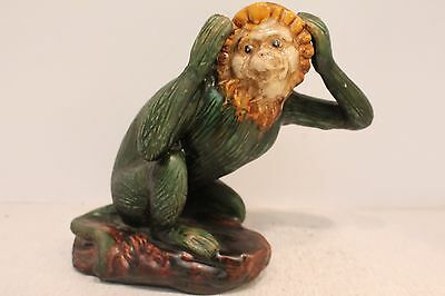 Cute Rare Porcelain Majolica Monkey Figurine Green Body Yellow Face Hear No Evil
