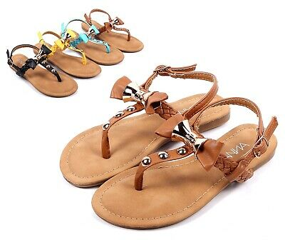 bfd34d383 Tan Bowknot Shape Kids Girls Sandals Flat Youth Slip On Dress Shoes Size 9