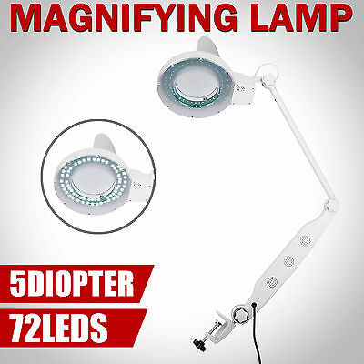 LED Magnifying Desk Lamp 5 Diopter Salon Manicure Magnifier Glass Lens Clamp
