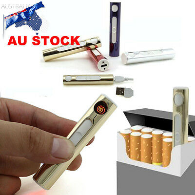 USB Metal Rechargeable Windproof No Gas Electric Cigarette Flameless Lighters AU