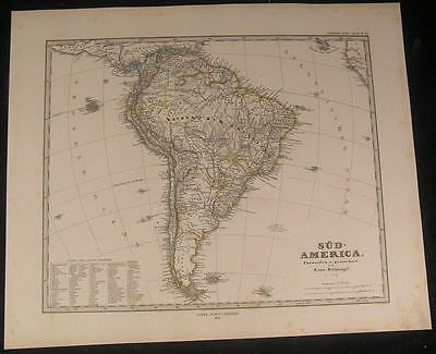 South America Patagonia Falkland Islands 1874 old engraved hand color map