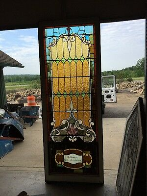 "antique Stained Glass Landing Window 36"" X 8'"