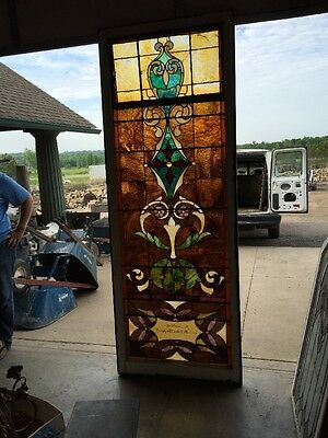 "Ca 9 Antique Stained Glass Landing Window 36"" X 8'"