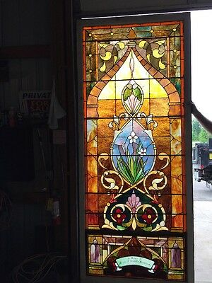 Ca14 Antique 1890S Stainglass Landing Window