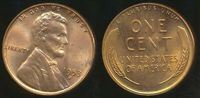 United States, 1953-D One Cent, Lincoln Wheat  - Uncirculated