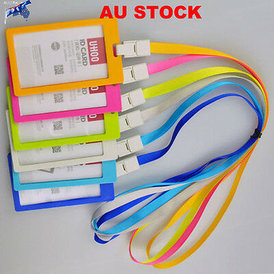 1PCS Lanyard Neck Strap ID Card Business Office Card Exhibition Badge Holder AU
