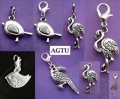 PICK YOUR CHARM ~ Clip On Silver Bird Tweetie Flamingo Charm