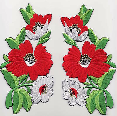 Embroidered iron on sew on applique flower patches badges patch badge 14 x 8 cm